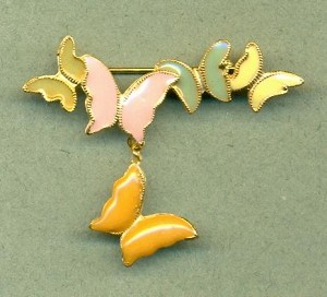 51x19mm GP Enameled Butterflies Brooch