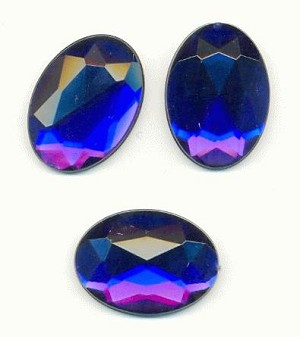 25x18mm Faceted Sapphire Acrylic FB Oval