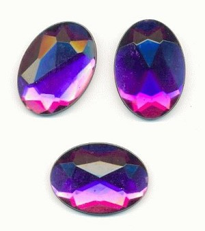 25x18mm Faceted Amethyst Acrylic FB Oval