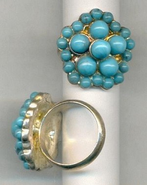 Size 7 SP Turquoise Rings