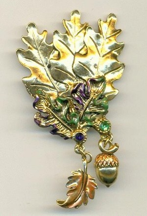 56x45mm AG Leaves Brooch w/ Charms