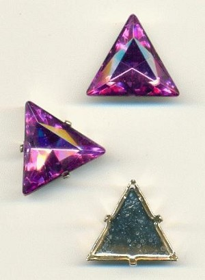 20mm Amethyst Triangle, SP Sew-On Set