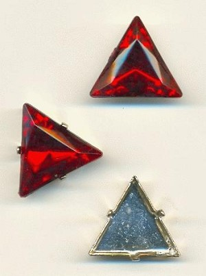 20mm Siam Ruby Triangle, SP Sew-On Set