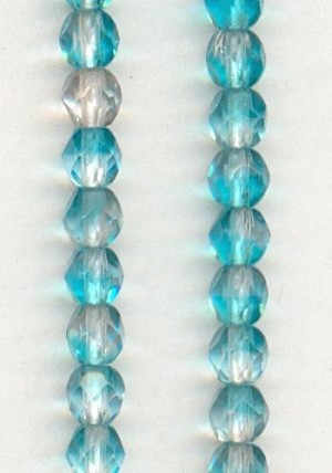 4mm Aqua/Clear Faceted Glass Beads
