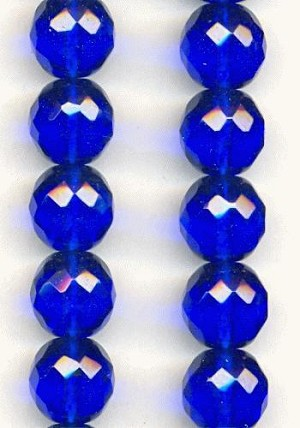 12mm Sapphire Faceted Glass Beads