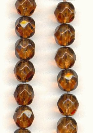 6mm Smoked Topaz Faceted Glass Beads