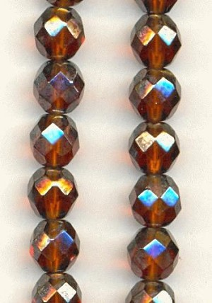 8mm Madeira Topaz/Luster Glass Beads