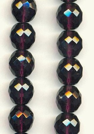 12mm Dark Amethyst Faceted Glass Beads