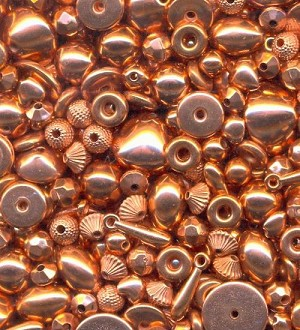 Mixed Lot Copper Metalized Plastic Beads