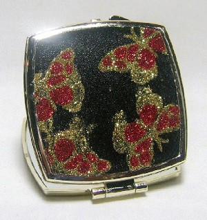 2.5'' Red/Black Glittery Square Compact