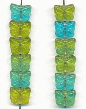 8x10mm Blue/Green Butterfly Beads