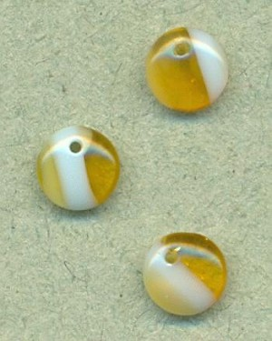 6mm Topaz/Lt Blue Druk Glass Lentil Bead