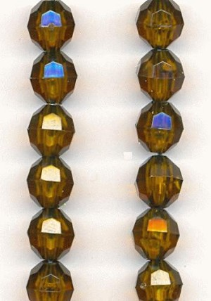 8mm Faceted Acrylic Smoked Topaz Beads
