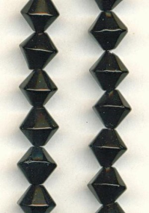 8mm Black Glass Bicone Beads