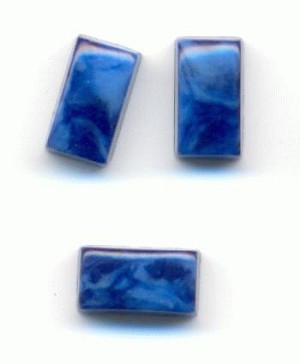 7x4mm Mottled Blue Flat Back Rectangle