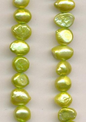 5-7mm Chartreuse Blister Pearls