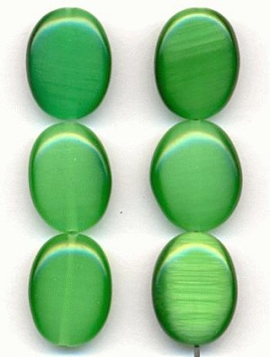 16x12mm Green Cat's Eye Beads
