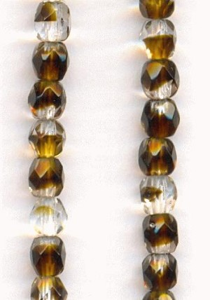 4mm Clear/Dk Smoked Topaz Glass Beads