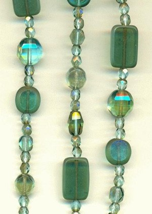 Mixed Faceted Glass Beads - Teal/Topaz