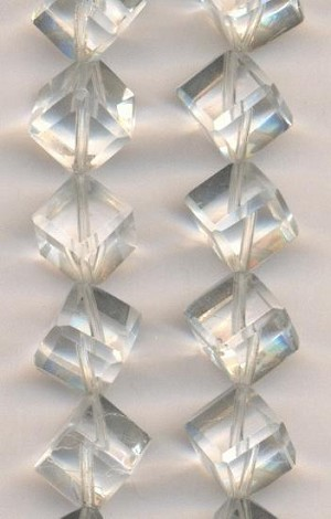 9mm Clear Glass Cube Beads