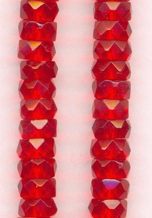 6x3mm Bright Red Faceted Rondelles
