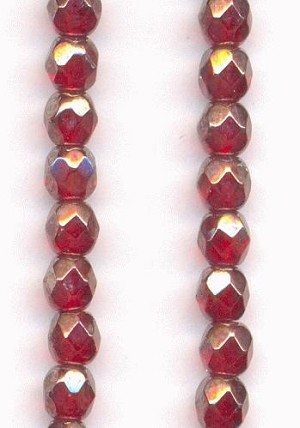 4mm Ruby Luster Faceted Glass Beads