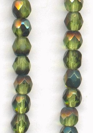 4mm Olive/Vitrail Faceted Glass Beads