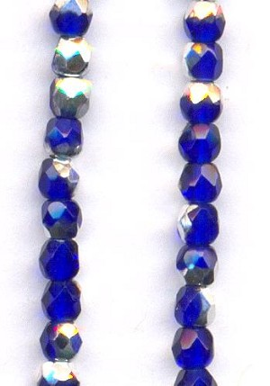 3mm Sapphire/Silver Glass Beads