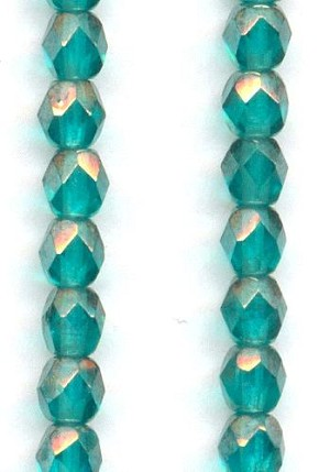 4mm Teal/Silver Luster Glass Beads