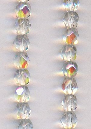 4mm Crystal/Clear AB Faceted Glass Beads