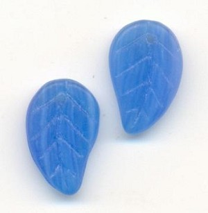 15x9mm Opaque Blue Leaf Beads