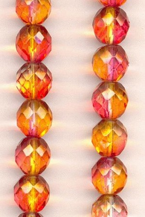 10mm Clear/Orange/Fuchsia Glass Beads