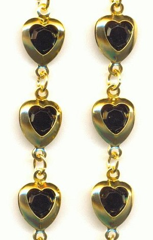 GP Chain w/ Acrylic Jet Black Hearts