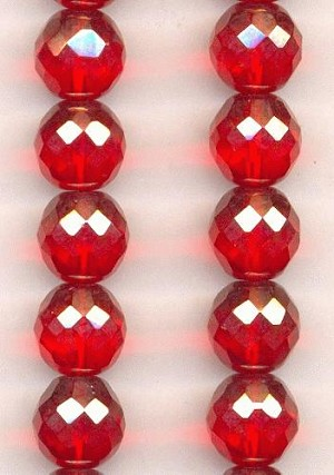 12mm Light Siam Luster Glass Beads