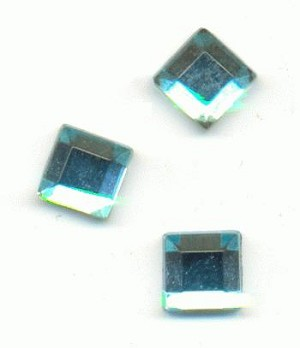 6mm Aquamarine Square FB Rhinestone