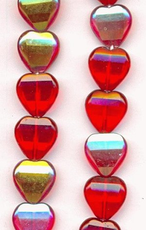 11mm Red/AB Heart Shaped Glass Beads