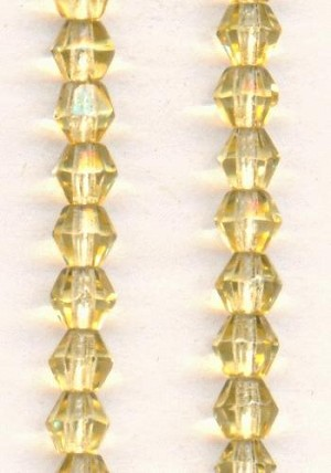 5mm Light Topaz Bicone Glass Beads