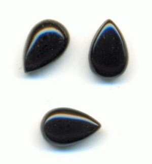 6x4mm Black Onyx Pear Stones