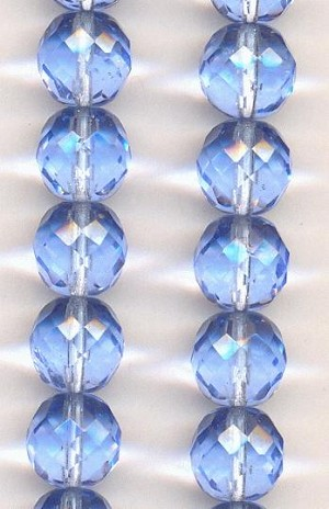 12mm Light Sapphire Faceted Glass Beads
