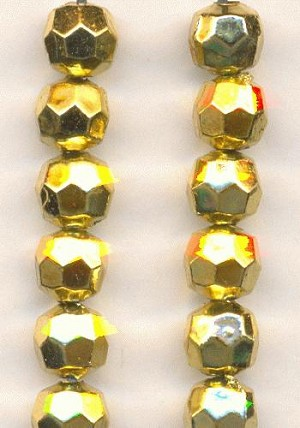 6mm Faceted Gold Acrylic Beads