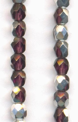 4mm Amethyst/Silver Faceted Glass Beads