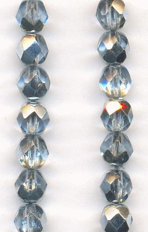 6mm Light Sapphire/Silver Faceted Beads