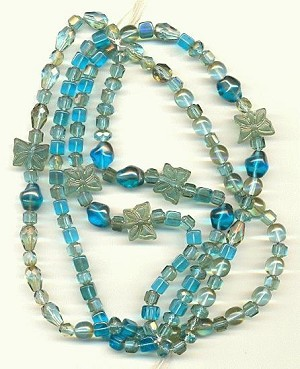 Mixed Faceted Glass Beads - Teal/Turq