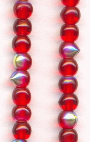 4mm Pressed Glass Siam Ruby/AB Beads