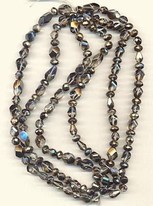 Clear/Hematite Mixed Glass Beads