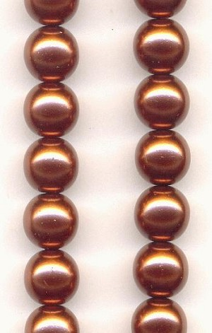 8mm Copper Czech Pearls