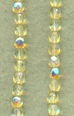 3mm Jonquil AB Faceted Glass Beads