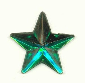 24mm Acrylic Emerald Star Sew-On RS