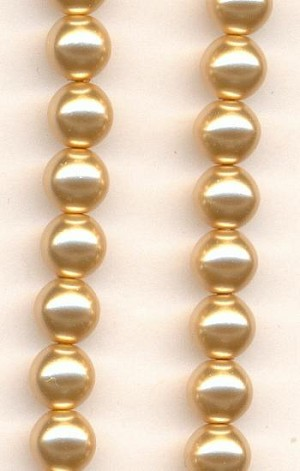 6mm Beige Glass Pearls