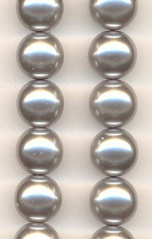 12mm Grey Glass Pearl Beads